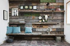 Det kunne være cool med en endevæg lavet sådanne og især med anvendelig bænk af gammel stillads/paller