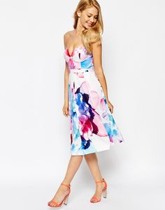 Image 1 of Ginger Fizz Wild Flower Bandeau Midi Dress In Bold Floral Print