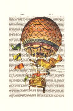 Vintage Hot Air Balloon Print with Flags Airship Art by FabFunky, $10.00
