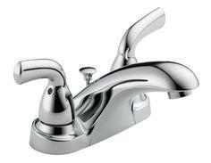 "Delta Foundations B2510LF-PPU Two Handle Centerset Lavatory Faucet, 4"""