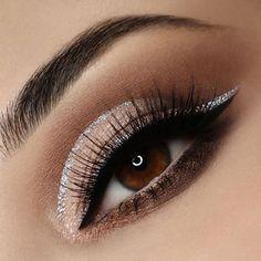 Epic bronze smokey eye with silver liner accents Pretty Eye Makeup, Natural Eye Makeup, Eye Makeup Tips, Makeup For Brown Eyes, Smokey Eye Makeup, Pretty Eyes, Makeup Looks, Makeup Ideas, Makeup Tutorials