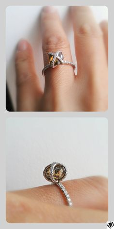 Chameleon diamond ring - rare colored gem in its natural form.  Unique ring by Diamond in the Rough   #rarediamond