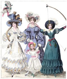 Newest fashion for October 1829: morning dresses, royal oak archer.    From The World of fashion and continental feuilletons, vol. 6, London, 1829.    (Source: archive.org)