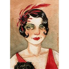 Flapper 1920s Art Deco Red Dress ACEO Star by TheBrilliantMagpie