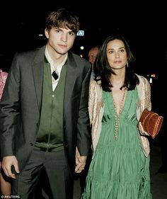 Actress Demi Moore and Ashton Kutcher pictured when they were dating. He was 25 and Demi 41 when they met in 2003. Despite the 16 year age difference, the pair stayed together until 2011