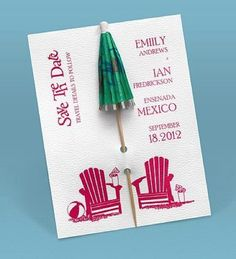 Easily personalized and shipped in a snap! Find fun save the dates perfect for a destination wedding like this Kickin& Back Umbrella save the date from Invitations by Dawn. Diy Invitations, Bridal Shower Invitations, Invitation Design, Wedding Stationery, Invitation Cards, Invitation Ideas, Diy Save The Dates, Wedding Save The Dates, Beach Weddings
