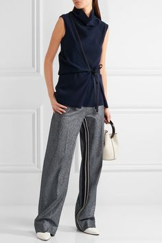 Navy crepe Slips on 100% polyester Dry clean Made in Italy-cedric charlier