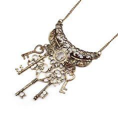 key charm necklace   Key Filigree Multi Charm Crystal Necklace