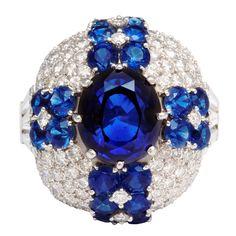 Bombé Design RUSER Sapphire & Diamond Cocktail Ring, ca. 1960s