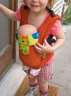 Puppentrage, Tragesack mit verstellbaren Trägern für Puppen nähen