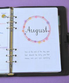 Buntes Deckblatt für August - Colorful August spread   Planer Planner bujo bulletjournal