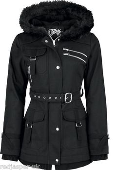 Poizen Industries Emo Gothic Punk Vixxsin Rize Jacket Warm Black ZIPPED