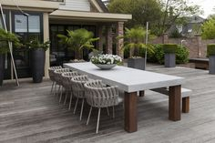 Grezzo is an exclusive brand for customized furniture. Outdoor Dinning Table, Outdoor Seating, Outdoor Spaces, Outdoor Decor, Table Beton, Concrete Table, Unique Furniture, Garden Furniture, Outdoor Furniture Sets