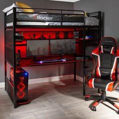 Gamer Bedroom, Bedroom Setup, Bedroom Ideas, Bunk Bed With Desk, High Sleeper Bed, Metal Bunk Beds, Gaming Room Setup, Game Room Design, Game Room Decor