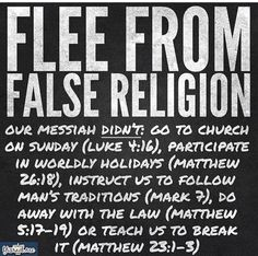 Flee yourself from the fake religion in America. #Worship on Sabbath #Celebrate Hanukkah instead of Christmas #Obey the laws of the Lord Your God who has brought you out of every slave land, slavery, and curse.