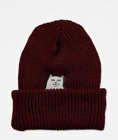 Freshen up your headwear collection with the RIPNDIP Lord Nermal baby blue beanie. This all-burgundy beanie comes in a thick ribbed construction for warmth and the embroidered Lord Nermal patch on the front crown flipping the bird offers an additional hint of fun style too.