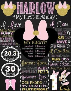Minnie Mouse First Birthday Chalkboard Printable Digital