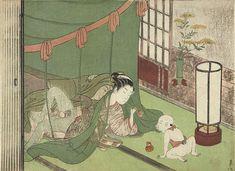 An erotic woodblock print by Suzuki Harunobu, Under a Mosquito Net While Amusing a Child at Scholten Japanese Art. Daruma Doll, Art Asiatique, Kuniyoshi, Spring Pictures, Art Japonais, Reproduction, Second Child, Chinese Painting, Woodblock Print