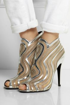 Pierre Hardy | Metallic leather and mesh boots | NET-A-PORTER.COM