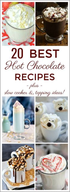 See 20 Best Hot Chocolate Recipes to warm up with when the weather cools! Lots of delicious flavours to try out! Your kids will love these hot cocoa recipes too! Perfect for parties or any time! Includes lots of slow cooker versions to make in big batches. #hotchocolate #recipes