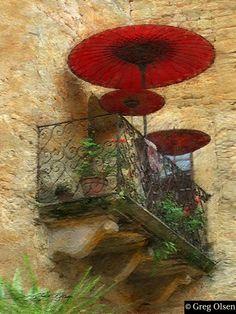 balcony with red umbrellas, photo by greg olsen Umbrella Art, Under My Umbrella, Picasso, Greg Olsen Art, Umbrellas Parasols, Love Painting, Impressionism, Art Boards, Fine Art