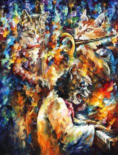 JAMMING CATS 4 - Original Oil Painting On Canvas By Leonid Afremov http://afremov.com/RAINY-ENCOUNTER-Original-Oil-Painting-On-Canvas-By-Leonid-Afremov-30-X40.html?bid=1&partner=15955