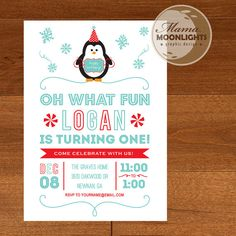 Winter OneDerland Fun To Be One First Birthday by MamaMoonlights, $15.00