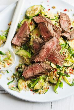 Beef and herby couscous