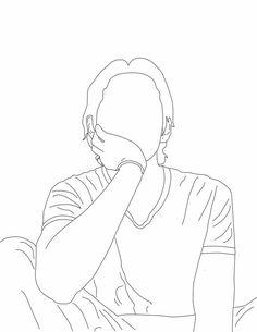 Outline Art, Outline Drawings, Cool Art Drawings, Simple Tumblr Drawings, Kpop Drawings, Anime Drawings Sketches, Learn Art, Art Sketchbook, Cute Stickers