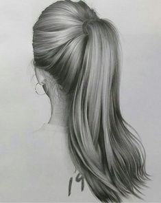 Drawing tips, ponytail drawing, realistic pencil drawings, how to draw hair, Realistic Hair Drawing, Realistic Sketch, Realistic Pencil Drawings, Drawing Hair, Pencil Art Drawings, Art Drawings Sketches, Drawings Of Hair, Drawing Faces, Drawing Techniques