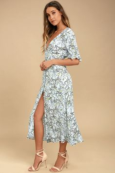 d32e8b212c8100 Somedays Lovin  Woodland Days Light Blue Floral Print Midi Dress