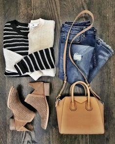 Chic casual outfit | BP striped sweater Fall Outfit