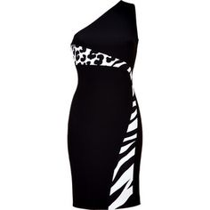 VERSACE Black/Ivory One Shoulder Dress
