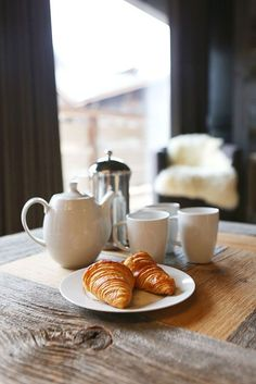 Coffee and Croissant at More Mountain's Chez Noah in Morzine, France Mountain Vacations, Adventure Activities, Amazing Destinations, Croissant, Meals, Tableware, Ski Chalet, France, Coffee