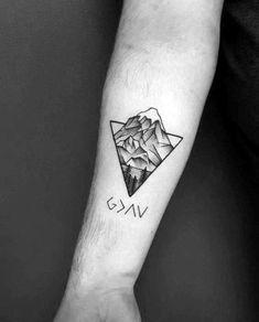 Geometric Mountain Male Tattoo Designs