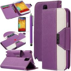 Note 3 Case, Galaxy Note 3 Flip Case - ULAK Luxury PU Leather Colorful Wallet Magnetic Case for Samsung Galaxy Note 3 Note III N9000 with Screen Protector and Stylus (Purple/White) ULAK http://www.amazon.com/dp/B00G45PVG8/ref=cm_sw_r_pi_dp_CBGkub0BQCX8Z