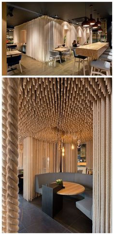 Love the rope detail at ODESSA Restaurant designed by Vladimir Nepyivoda, Dmitry Bonesko & Sergii Andriienko Odessa Restaurant, Deco Restaurant, Restaurant Interior Design, Cafe Interior, Design Hotel, Restaurant Ideas, Deco Design, Cafe Design, Design Design