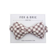 Mocha Gingham bow tie ++ fox & brie