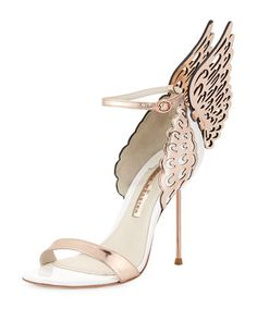 Spring/Summer 2015 - Evangeline Angel Wing Sandal, Rose Gold/White by Sophia Webster at Neiman Marcus.