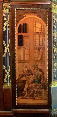 Detail Marquetry on side of a cabinet  by David Roentgen 1743 - 1807 Germany