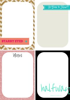 FREE Printable Journaling Cards – Glitter Bright Design 2