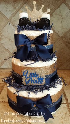 Glitter Gold & Royal Blue Little Prince Crown Diaper Cake for