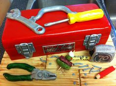 Toolbox cake for a 70 year old Scottish, caesar loving craftsman. Lime cake with coconut buttercream. Firefighter Birthday Cakes, Birthday Cake Kids Boys, 70 Birthday, Crazy Cakes, Fancy Cakes, Tool Box Cake, Cake Designs For Kids, Dad Cake, Lime Cake