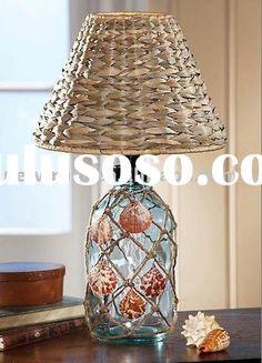 glass bottle with seashell decor desk lamp