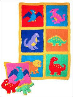 Crochet - Afghan & Throw Patterns - Baby Blanket Patterns - Dinosaurs! Afghan, Pillow & Toys