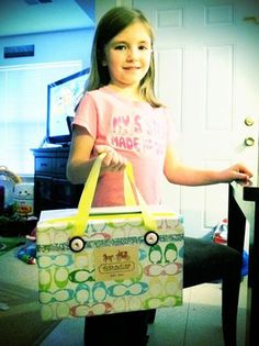 How adorable - A shoebox made into a Valentine Box/Coach bag! my child will have one of these!!