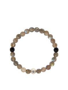 Women's Wristband wtih Labradorite and Black Agate