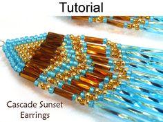 Beading Pattern, Brick Stitch Earrings Tutorial Jewelry Making Beaded Earrings Long Bugle Seed Bead Earrings #1672