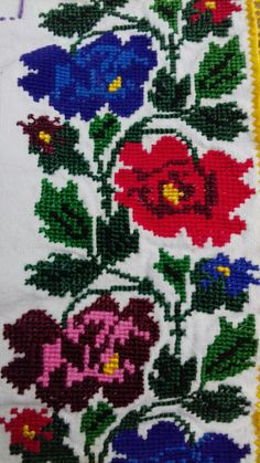 Embroidery Stitches Tutorial, Embroidery Motifs, Palestinian Embroidery, Cross Stitch Rose, Diy And Crafts, Costumes, Canvas, Flowers, Cross Stitch Designs