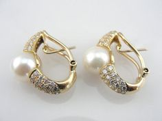 4291c5c9a53 Diamonds and Mabe Cultured Pearl Earrings in Fine 18K Gold from  marketsquarejewelers on Ruby Lane Vintage
